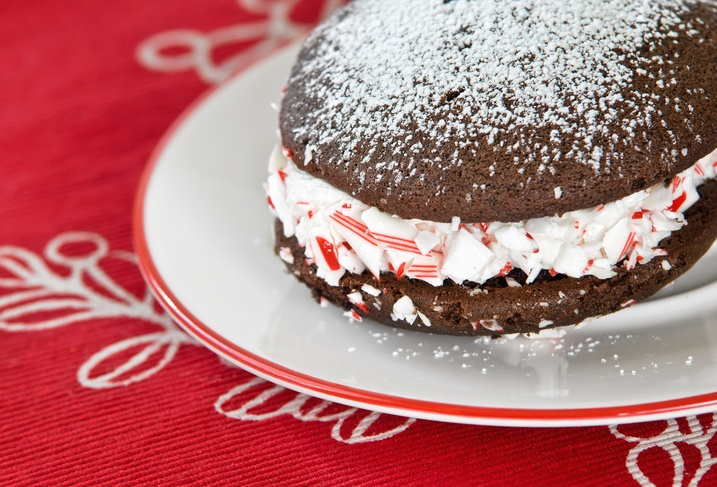 whoopie pie, decorated with peppermint candy crush