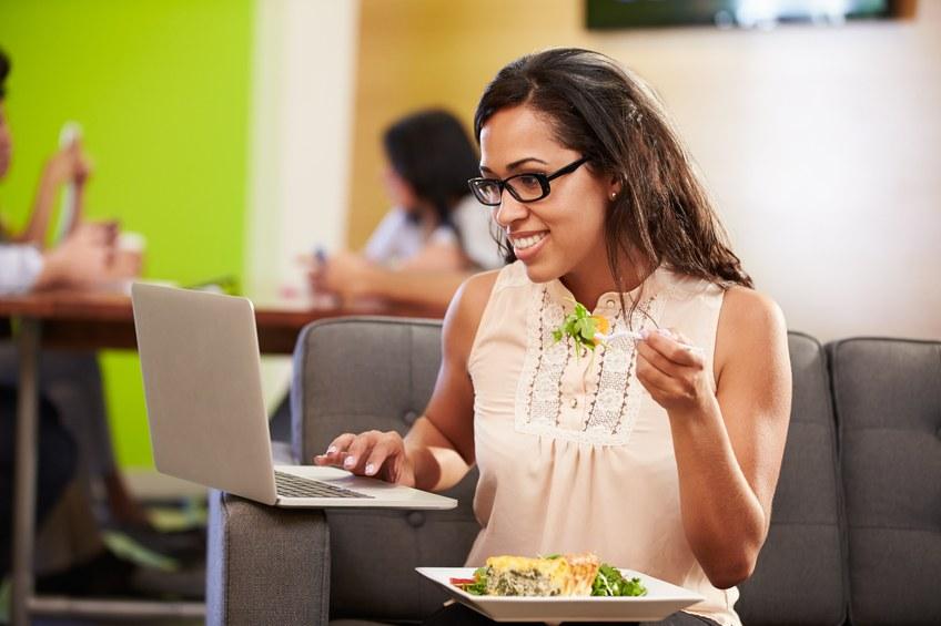 woman having lunch