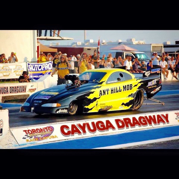 The Ant Hill Mob drag racer on the race track