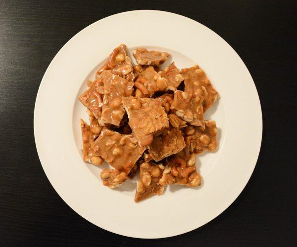 overhead shot of bar snack brittle