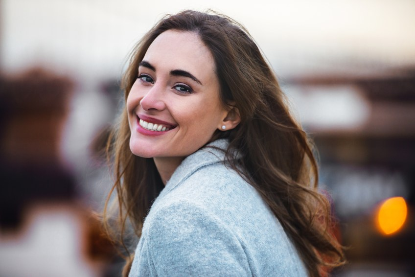 beautiful caucasian woman with charming smile