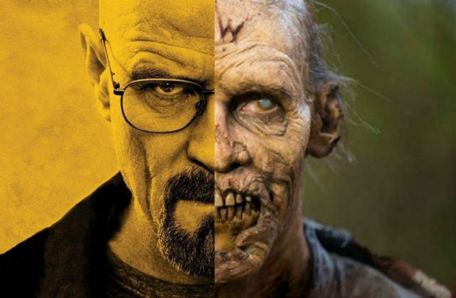 Promotional images of Walter White, from 'Breaking Bad' and a zombie from 'The Walking Dead'