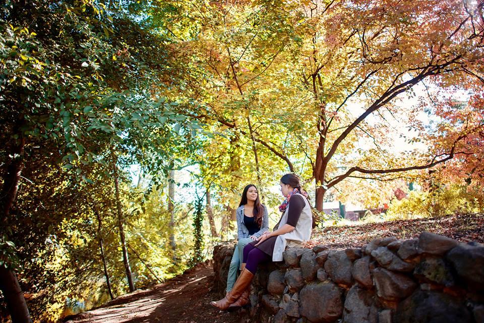 Women sitting outside in Chico, CA