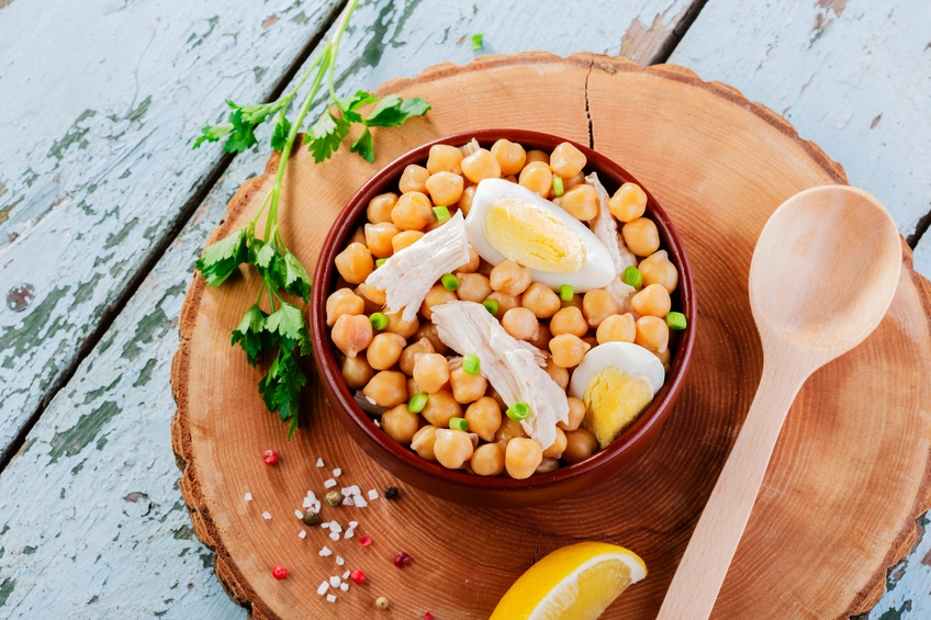 serving of chickpea salad with chicken and egg