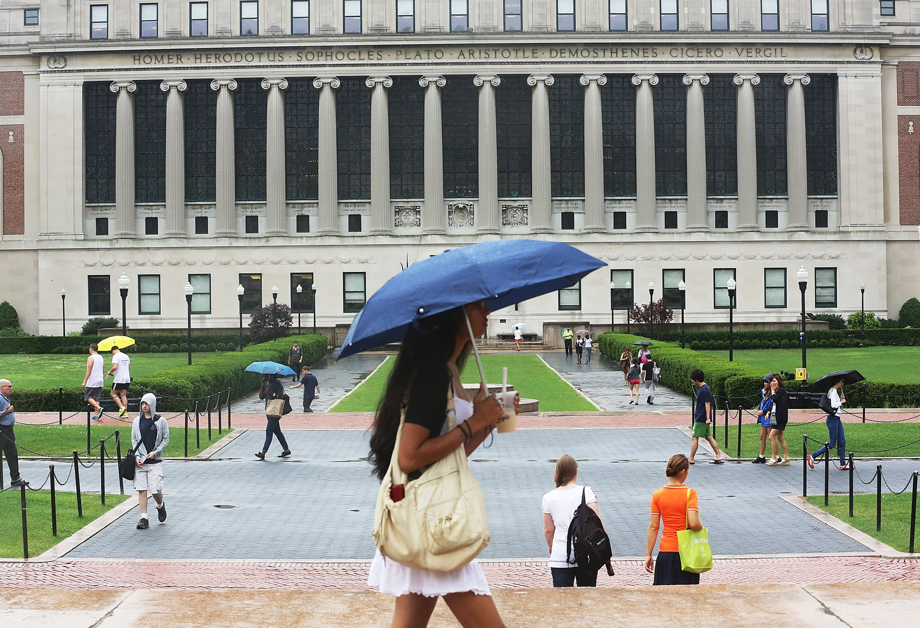 students on the columbia university campus