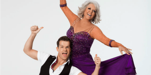 Paula Deen and Louis Van Amstel posing in their promo photo.