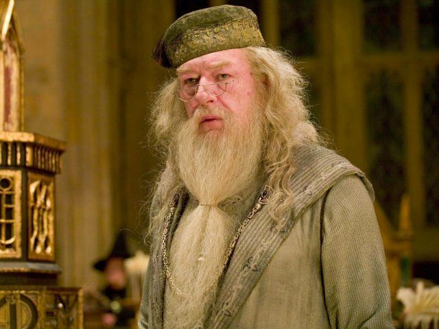 Dumbledore standing in the Hogwarts hall.