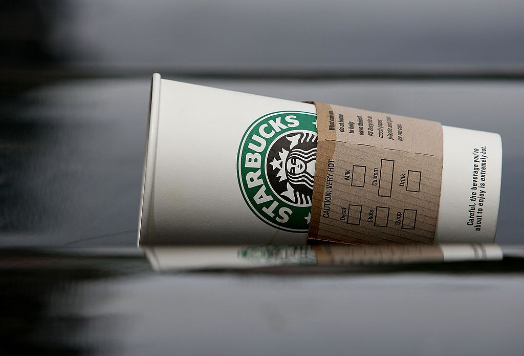 A discarded Starbucks cup