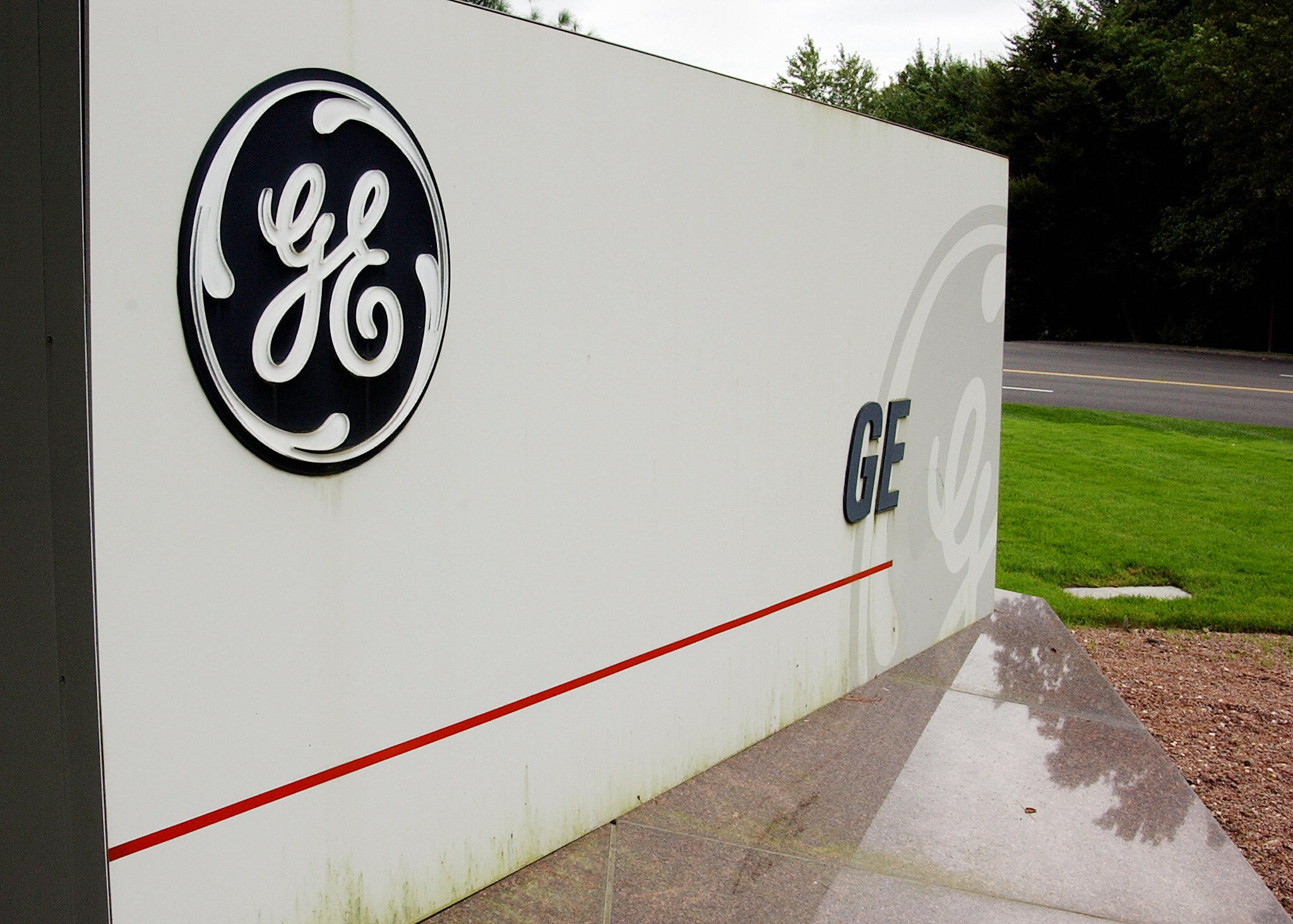 A sign outside the corporate headquarters of the General Electric company