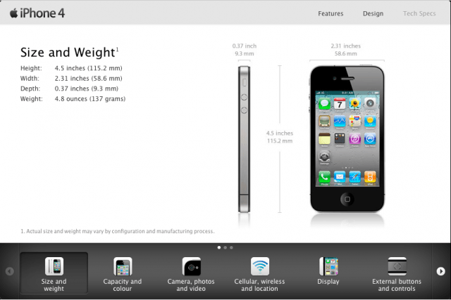 iPhone 4 size and weight
