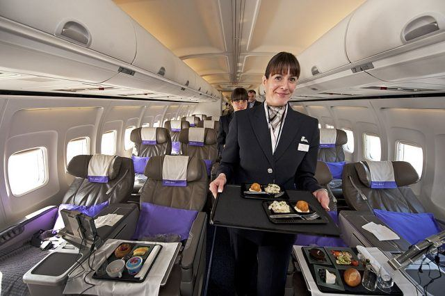 flight attendant serving a meal