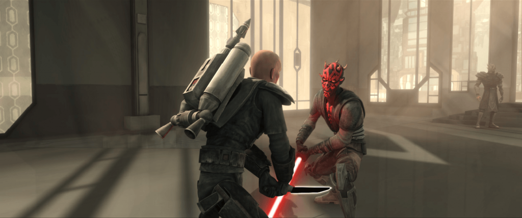 Maul fights Mandalorian Death Watch leader Pre Vizsla