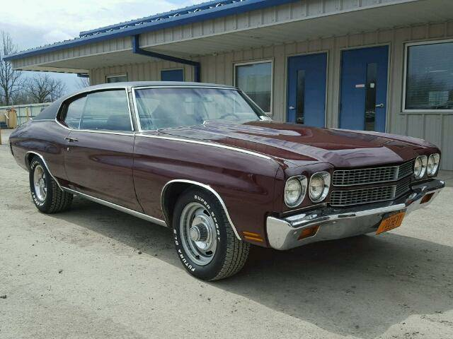 Maroon 1970 Chevy Chevelle parked in front of a building