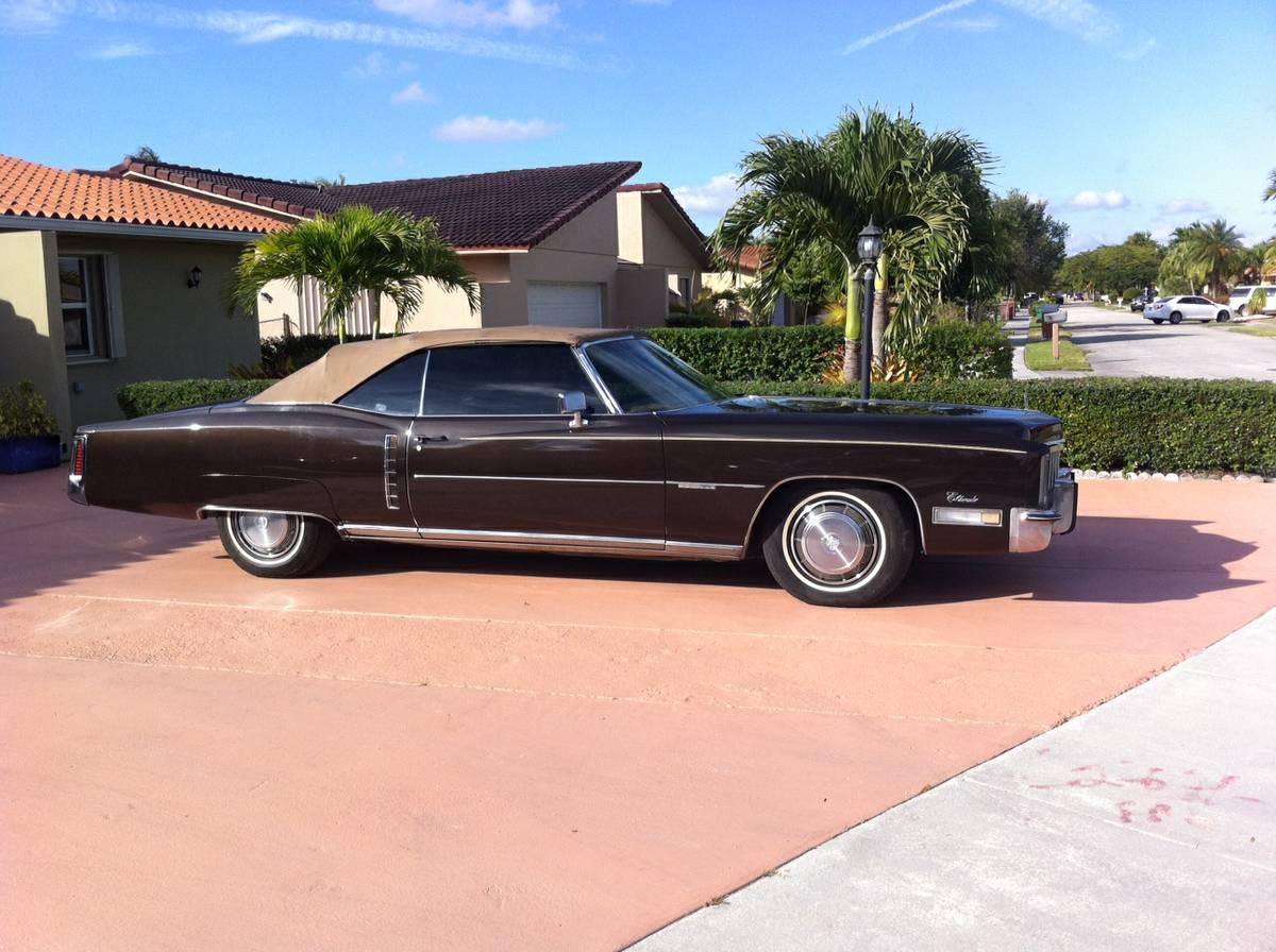 1972 Cadillac Eldorado convertible parked in a driveway