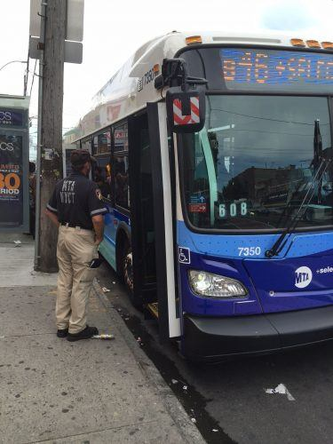 boarding a bus in NYC