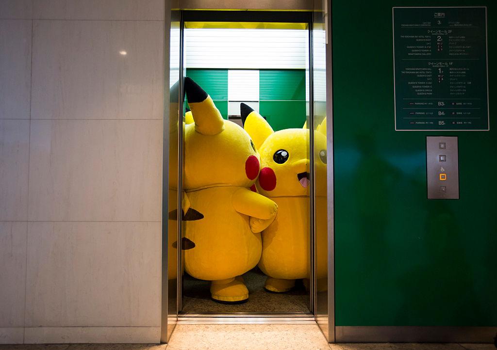 pikachus in elevator