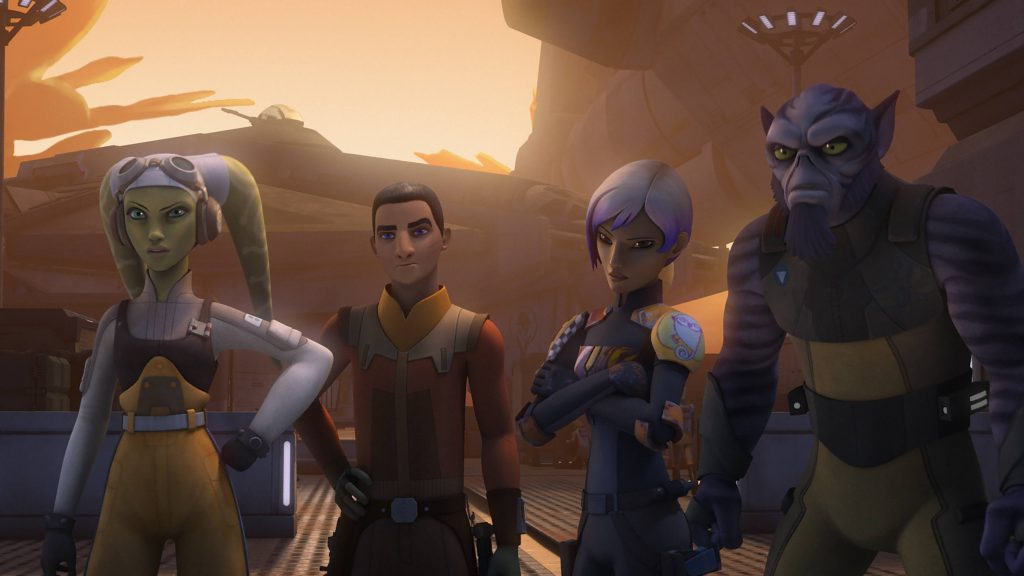 A group of animated characters stand in line in Star Wars Rebels