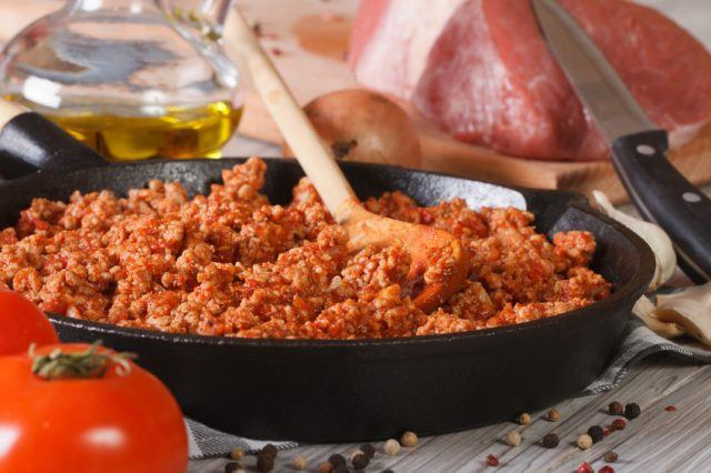 hot sauce Bolognese in a frying pan