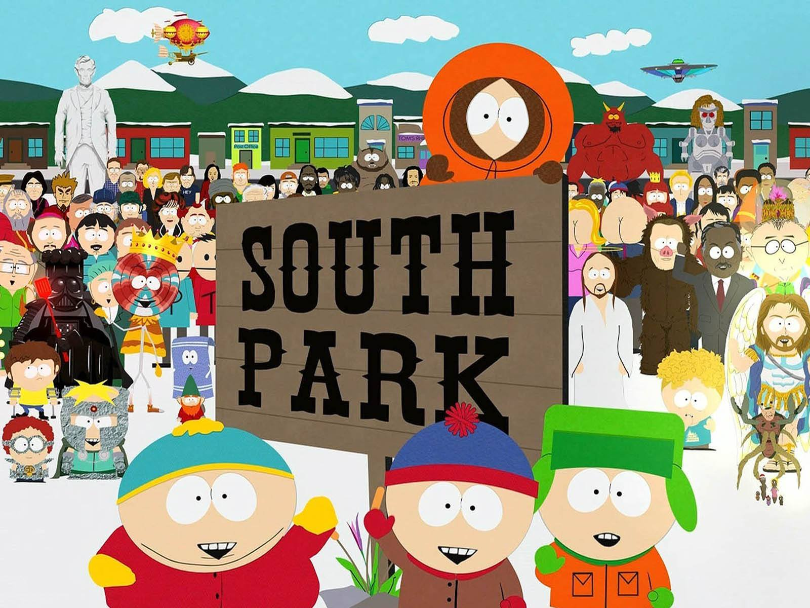 Cartoon characters in the snow surround a sign reading 'South Park'