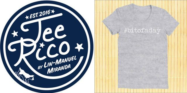 A dark blue Teerico sticker and a light grey t-shirt that says '#bitofaday'