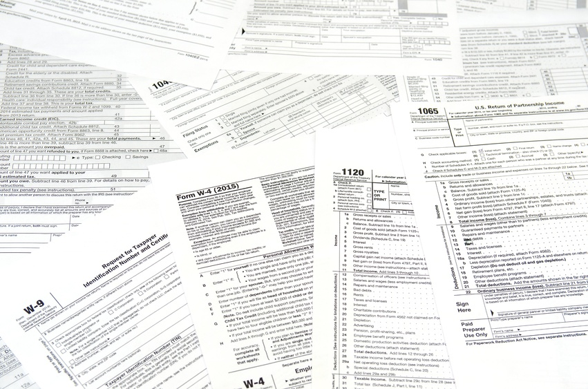 Tax documents come in many forms, such as these tax forms