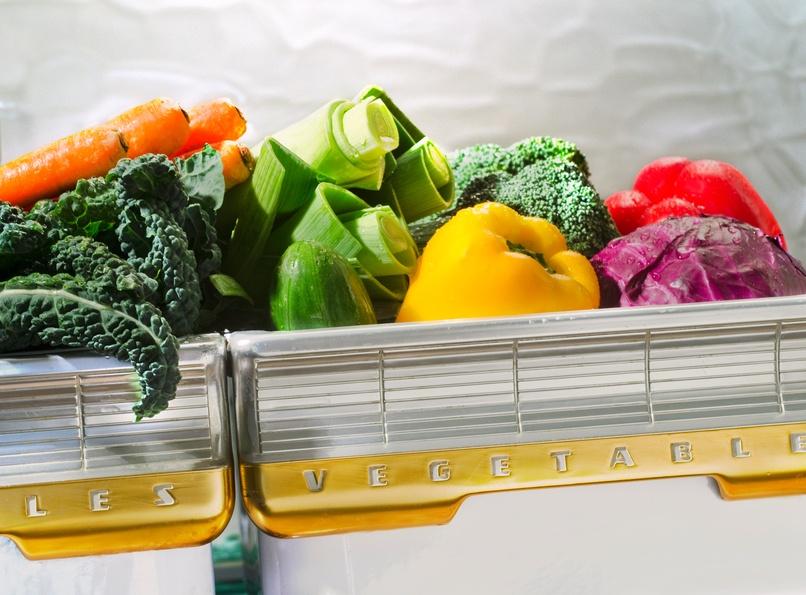 vegetable in retro refrigerator bin