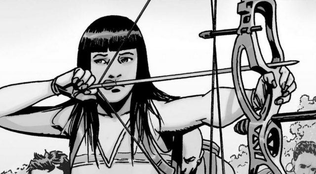 Yumiko aims her bow and arrow in a panel from 'The Walking Dead' comics.