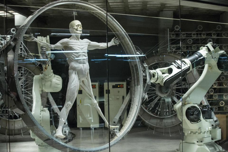 A robotic host body as it is being created in a lab