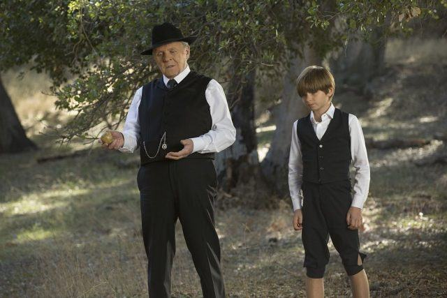 Dr. Robert Ford (Anthony Hopkins) speaks with a little boy in a scene from HBO's 'Westworld'
