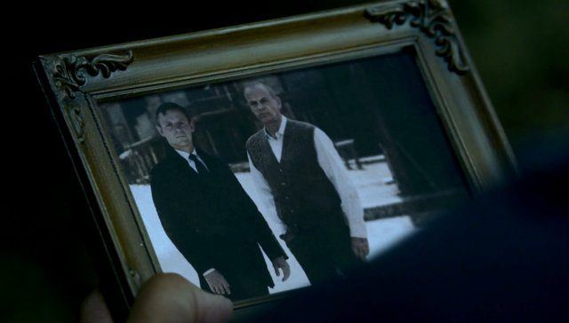 A photograph of Robert (Anthony Hopkins) and Arnold from a scene in HBO's 'Westworld'