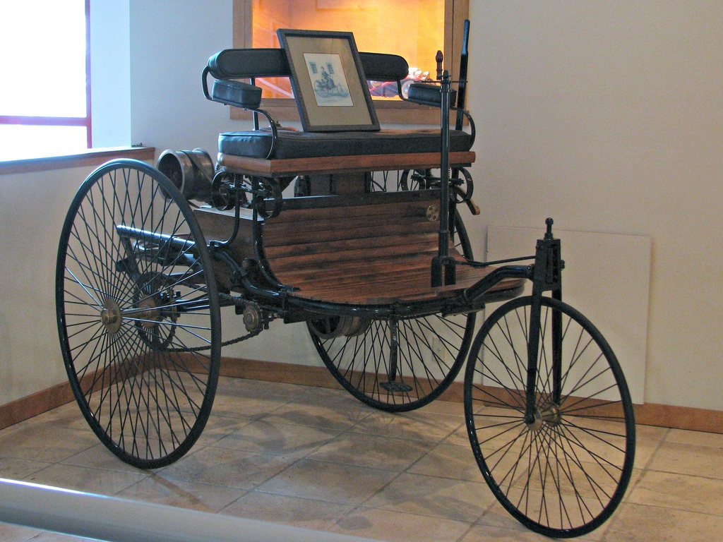 The 1886 Benz Patent Moterwagen, known in car history as the oldest gasoline powered automobile, on display