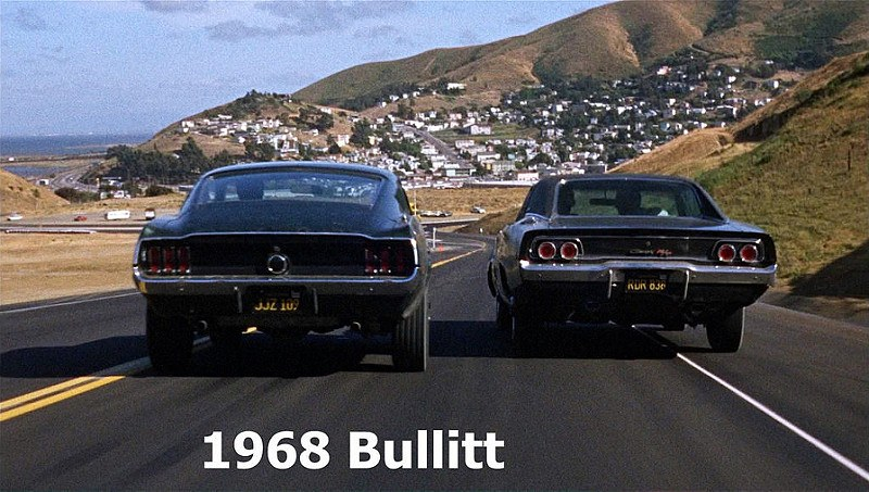 The chase scene from <em>Bullit</em> which featured the McQueen Bullit Mustang and a 1968 Dodge Charger 440 Magnum