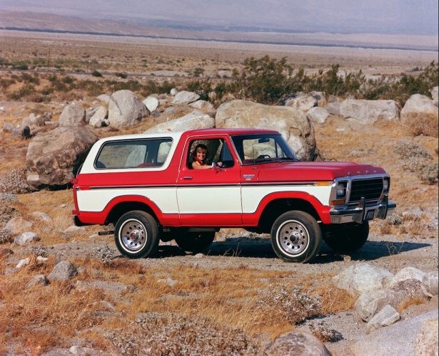 A red 1978 Ford Bronco