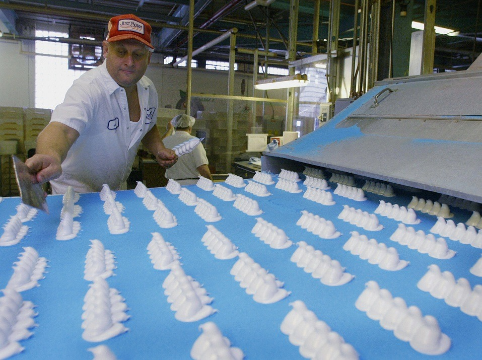 A worker inspects the marshmallow forms before they are coated with sugar at Just Born Inc.