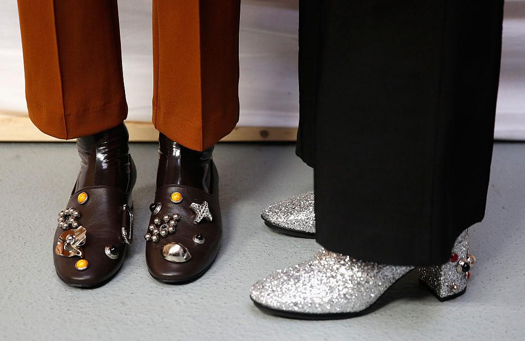 Models backstage, shoe detail