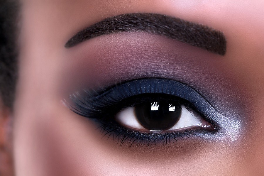 African American woman eye makeup