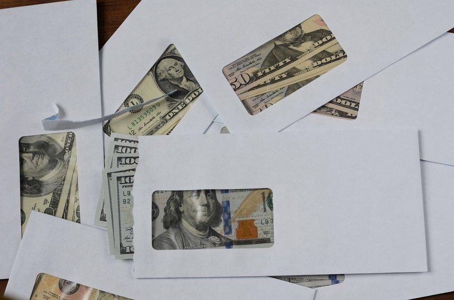 American dollars in envelopes