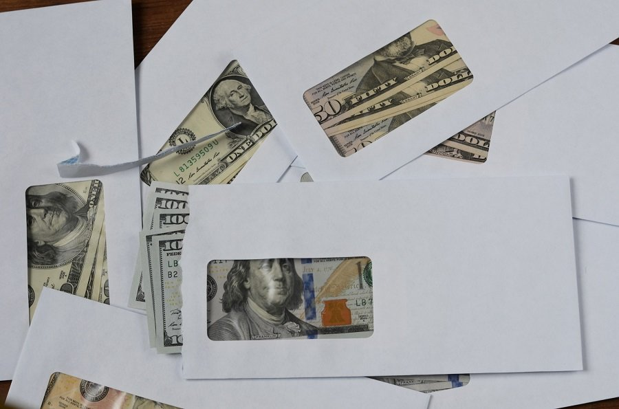 American dollars in envelopes