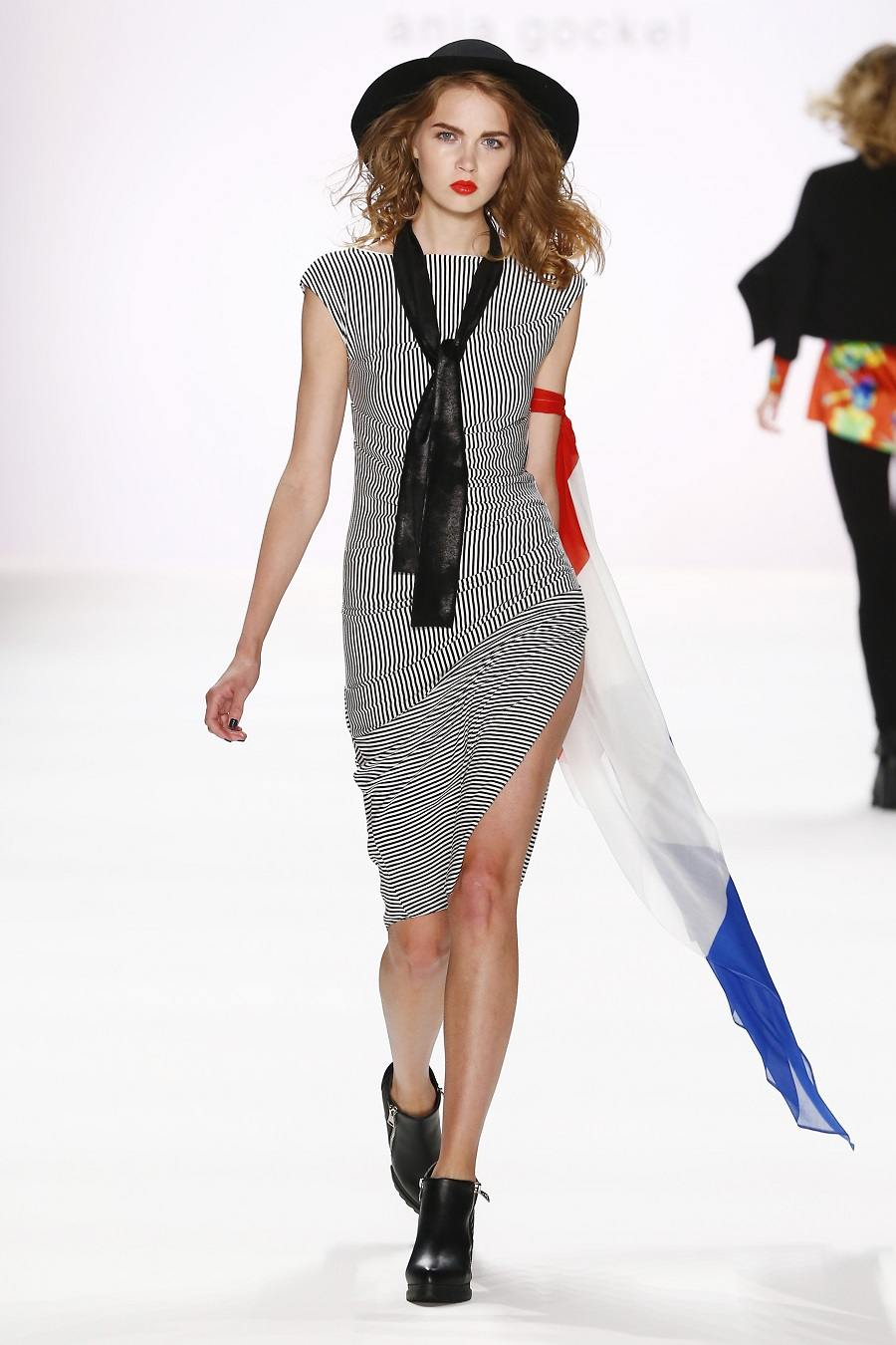 Model Maria Vvedenskaya walks the runway at the Anja Gockel show