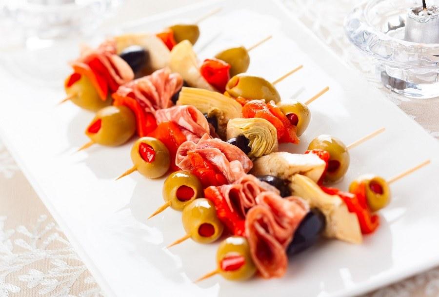 Antipasti skewers with olives