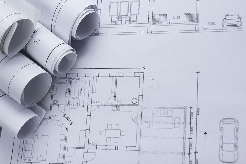 Architectural project, blueprints