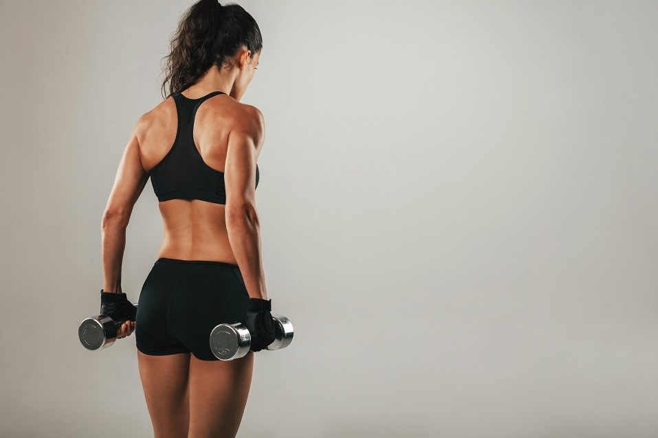 Back of athletic woman with muscular physique holding pair of dumbbells
