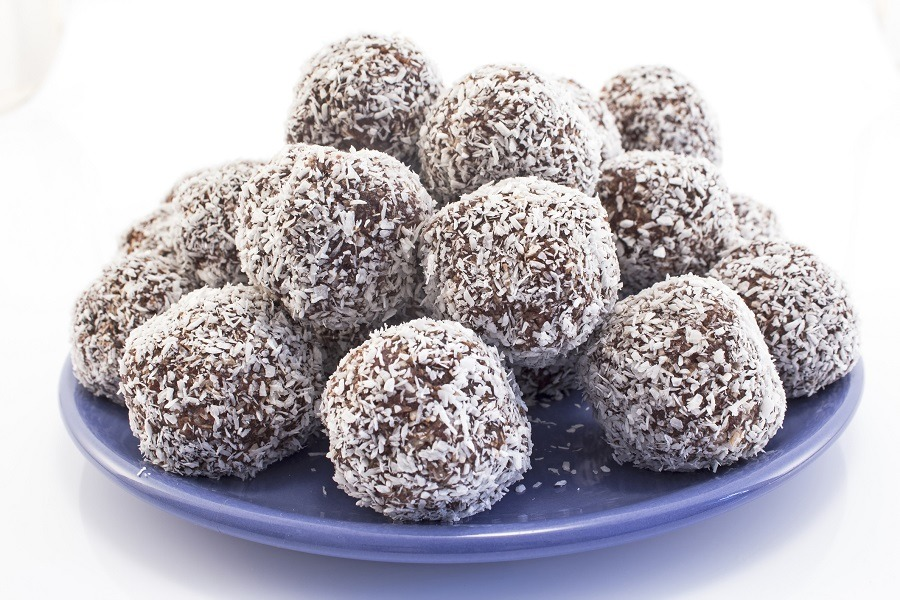 Balls of coconut and chocolate