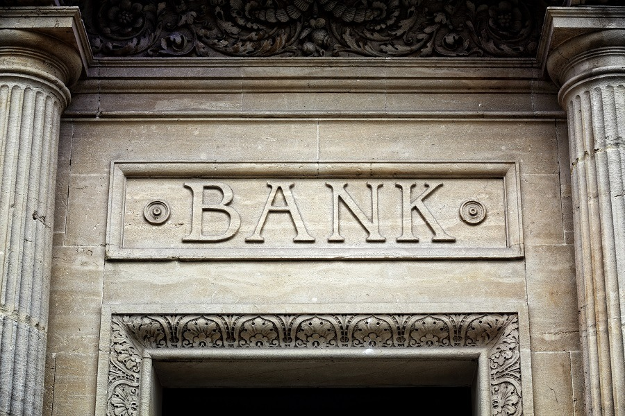 Old bank sign engraved in stone