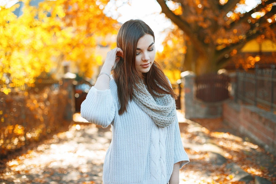 woman in a knitted sweater