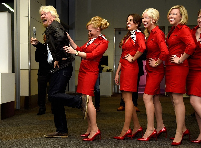 CEO of the Virgin group and billionaire Sir Richard Branson attends Virgin America's San Francisco to Denver service launch