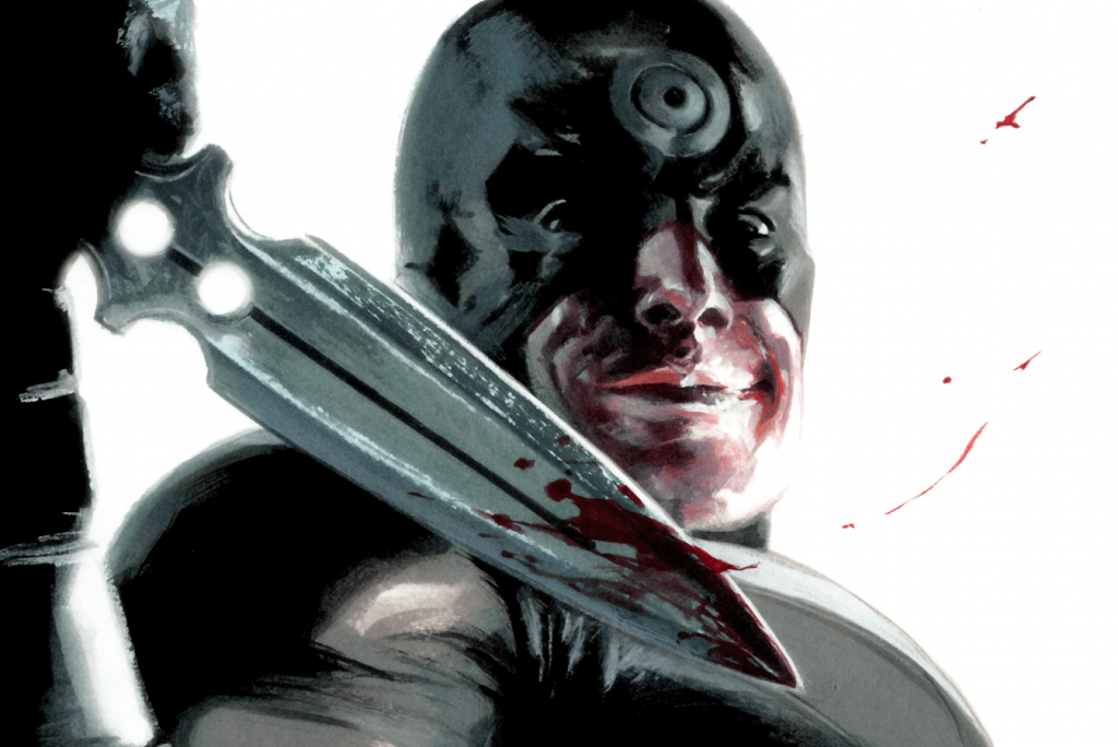Bullseye holds up a bloody knife