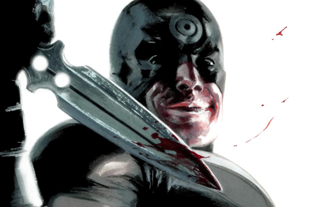 Bullseye holds up a bloody knife