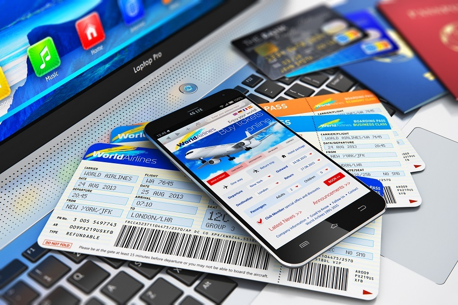 Airfare tickets on a laptop