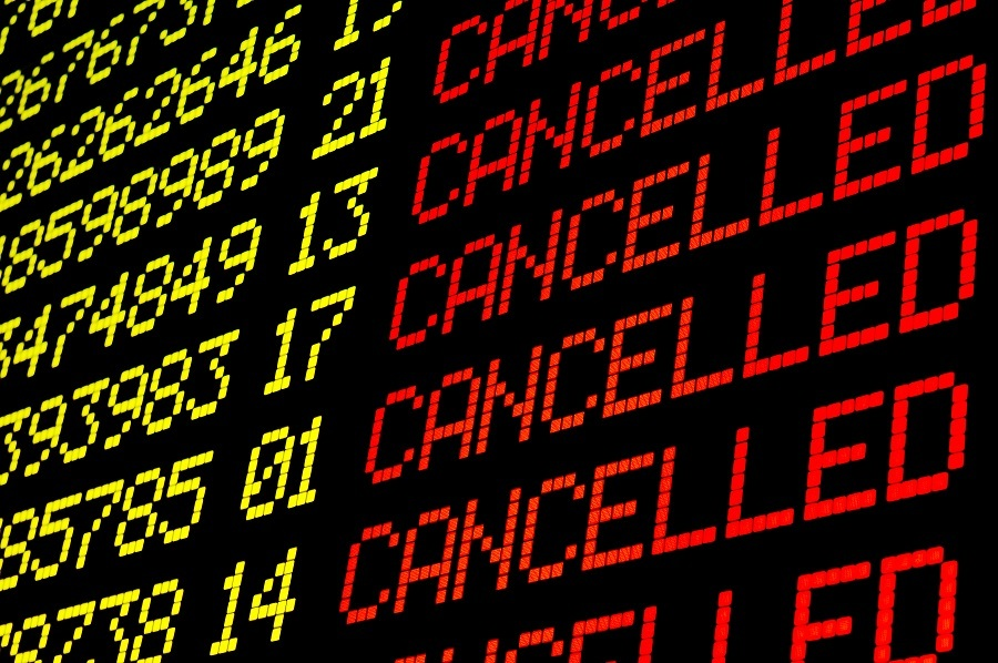 Cancelled flights on airport flight board